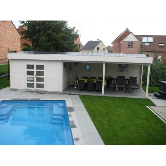 Mimas classic abris pool house en bois chalet center - Plan pool house piscine ...
